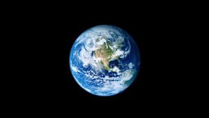 4K Black Wallpapers for Windows 10 - #04 of 10 - Dark Background with Blue Earth Planet