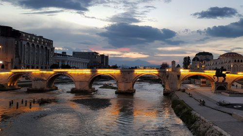 Beautiful Night View of Stone Bridge over Vardar River in Skopje Macedonia
