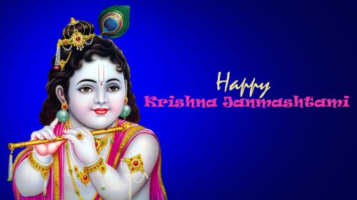 Happy Janmashtami Wallpaper with Picture of Krishna Using Flute