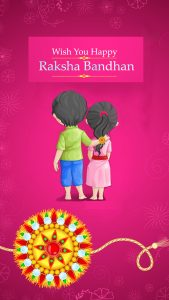 Happy Raksha Bandhan Wish Card for Sibling