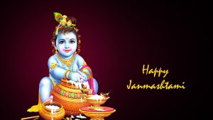 Happy Janmashtami Wallpaper with Picture of Krishna Eating Makhan