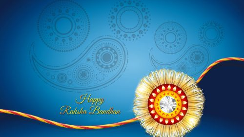 Happy Rakhi Bandhan Wallpaper with Blue Background