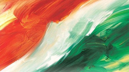 Wallpaper of Artistic Indian Flag with 3D Painting