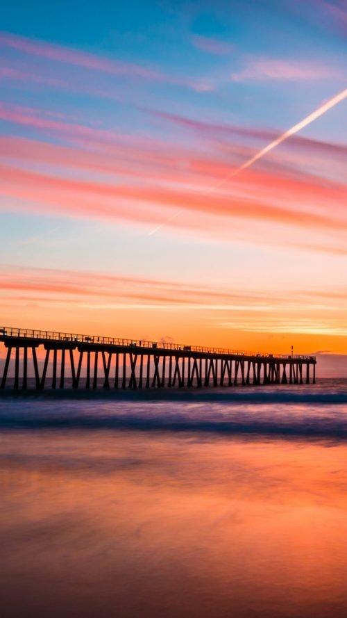 Hermosa Beach Pier Sunset - Beach Wallpaper for Phone