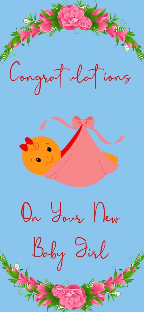 Congratulations Images Free Download for New Baby Girl with Blue Background