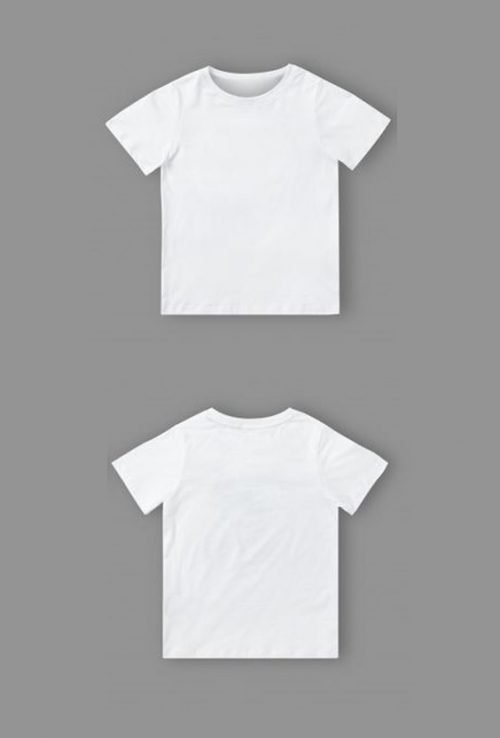 10 Blank T-Shirt Template Designs with Portrait Mode - 03 - Kids T-Shirt Mockup Template in White