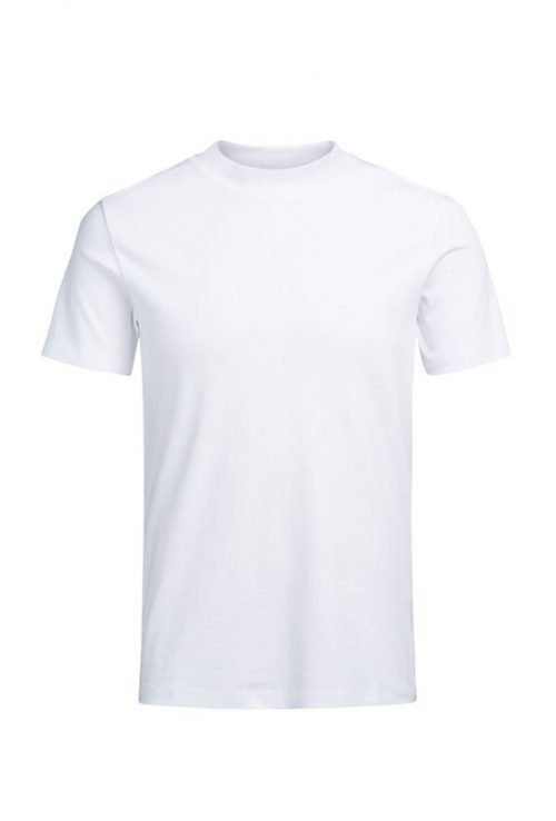 10 Blank T-Shirt Template Designs with Portrait Mode - 05 - High Neck T-Shirt White