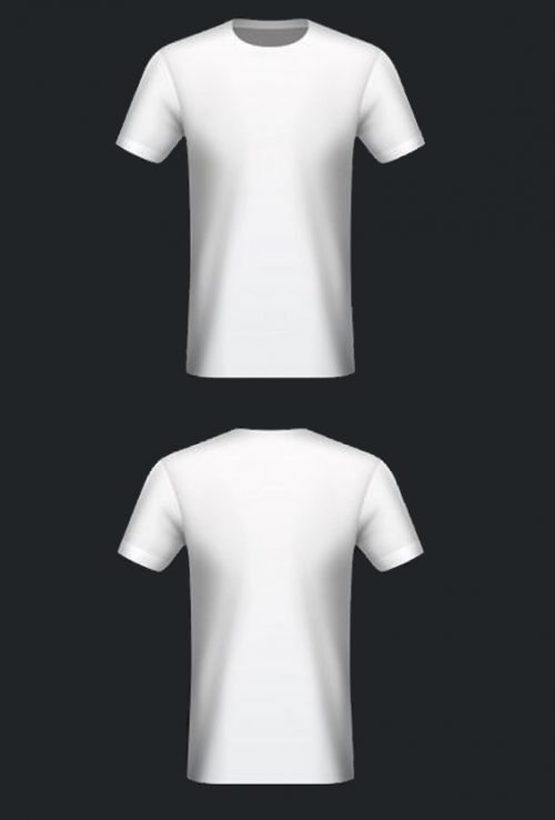 10 Blank T-Shirt Template Designs with Portrait Mode - 06 - Front and Back White T-shirts