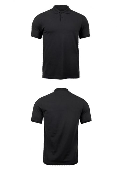 10 Blank T-Shirt Template Designs with Portrait Mode - 09 - Black Polo Mockup Front And Back