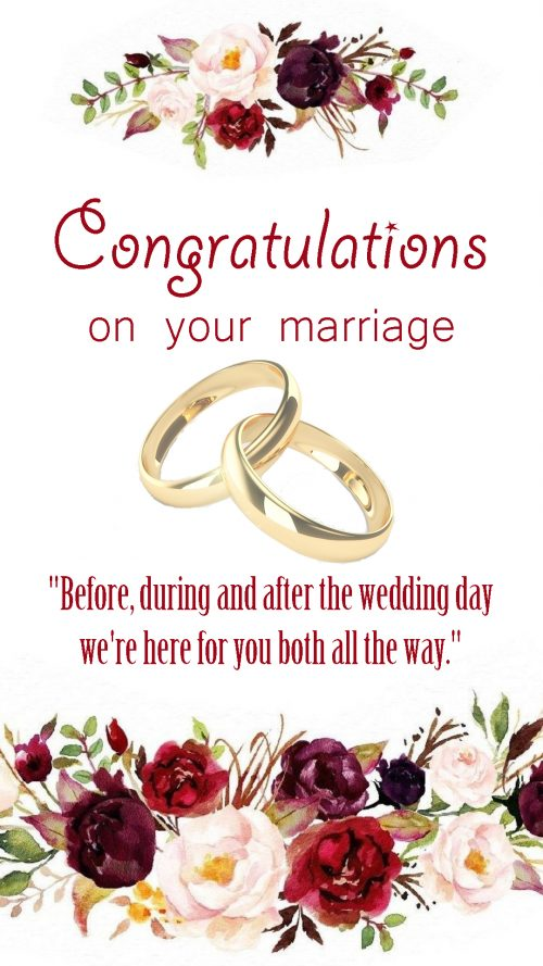 Congratulations Images for Wedding with Floral Frame