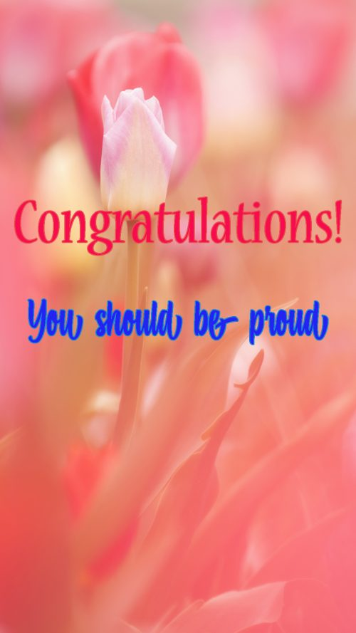 Congratulations for Promotion Images with Tulips Background