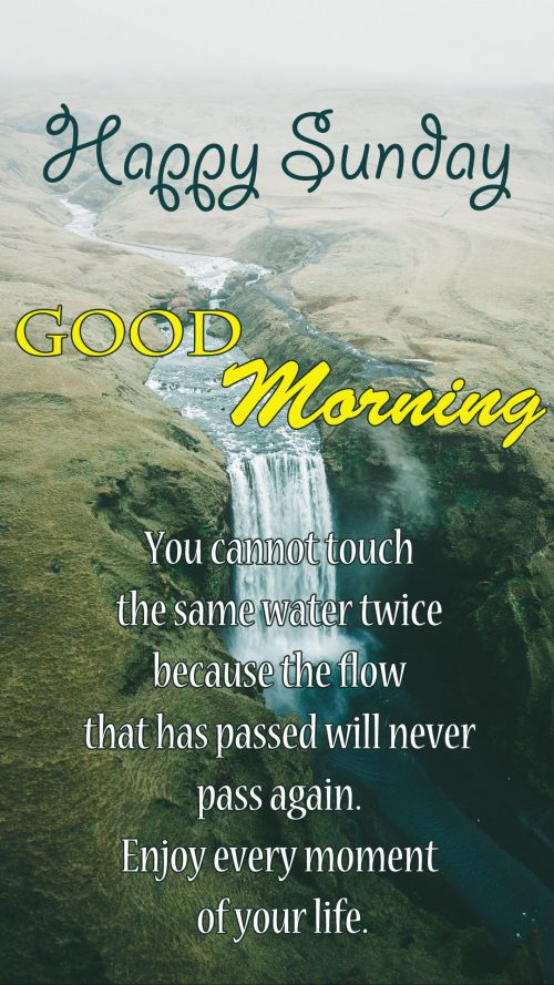 Happy Sunday Images Quotes with Waterfall Picture