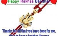 Raksha Bandhan Picture with Ganesha Rakhi Gold Pendant