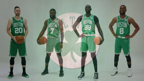 Boston Celtics Players and Logo for NBA Wallpaper