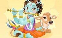 Happy Krishna Janmashtami Greetings Design for Mobile Phones