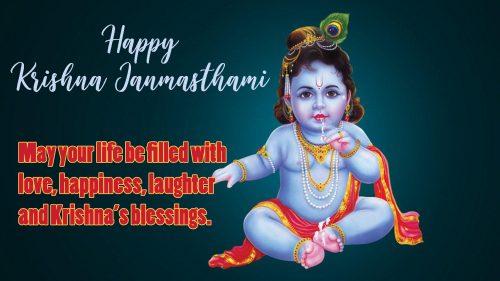 Happy Krishna Janmashtami Image with Short Messages