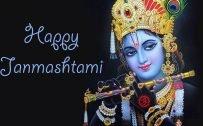 Happy Krishna Janmashtami Wallpaper with Close-Up Lord Krishna Picture