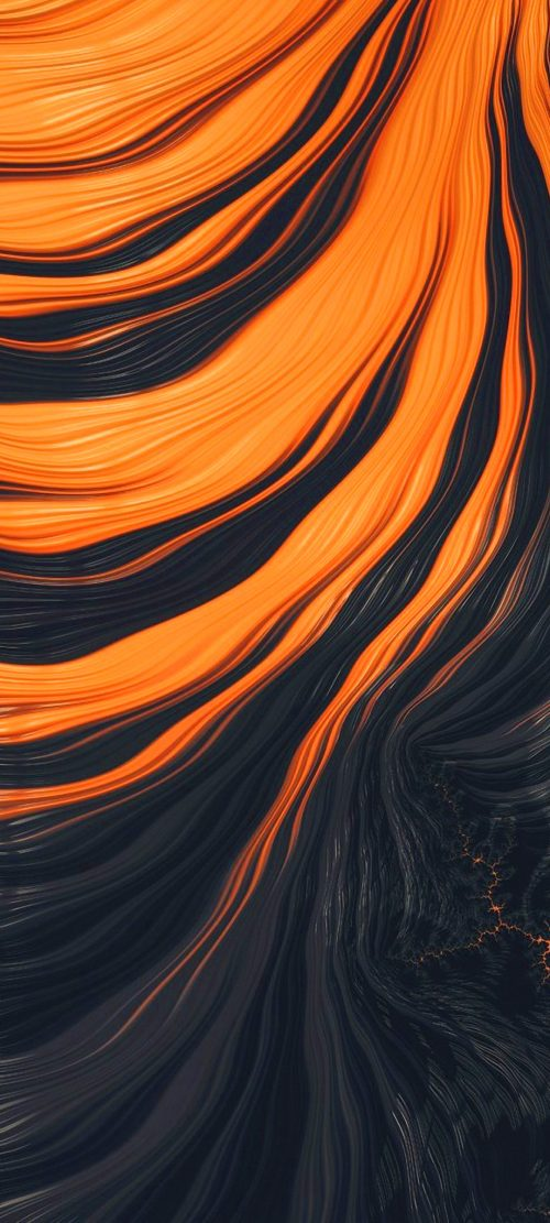 10 Best Alternative Wallpapers for Realme 7 5G 05 - Black Orange Abstract 3D Waves