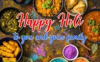 Greeting Card for Happy Holi to You and Your Family