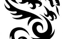 Black and White Tribal Dragon for Tattoo and Smartphone Background