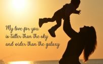10 Best Baby and New Mom Quotes – 05 – My love for you is taller than the sky