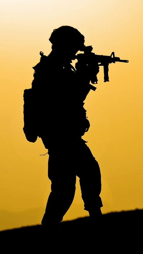 Mobile Phone Wallpaper with Soldier in Silhouette