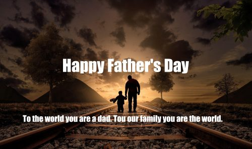 Father's Day Wallpaper with Picture of Father and Son on Railway