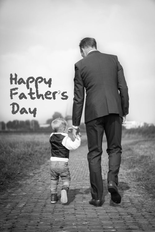 Black and White Photo of Father and Son for Father's Day Image