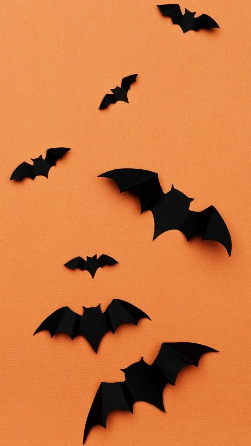 Free Happy Halloween Wallpaper with Picture of Bats on Orange Background